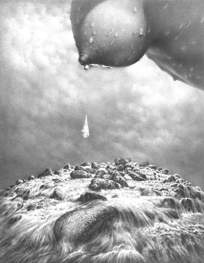 Гурам Доленджашвили. Из серии Женщина в пространстве. Падающие капли карандаш. 38х26 карандаш