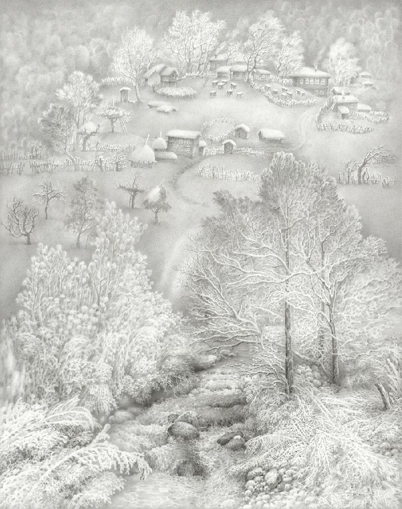 Гурам Доленджашвили. Туман в Имеретии. Лист 3. 57х45 Карандаш