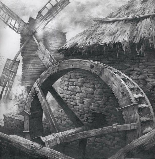 Художник Чернов Денис. Водяная и ветряная мельница. 53х53 бумага карандаш