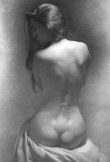 Художник Денис Чернов. Модель на темном фоне. 57х39 бумага карандаш