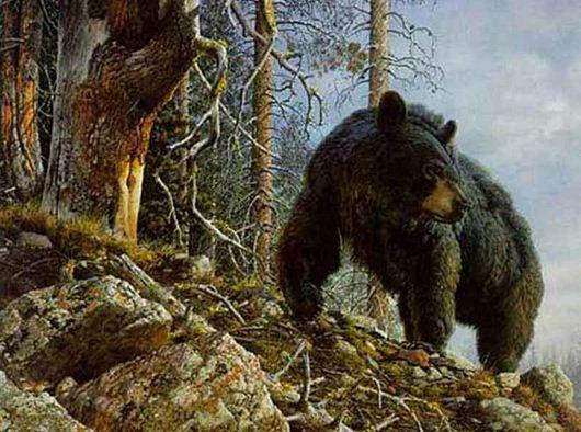 Анималистика Carl Brenders. Могучий медведь. Акварель