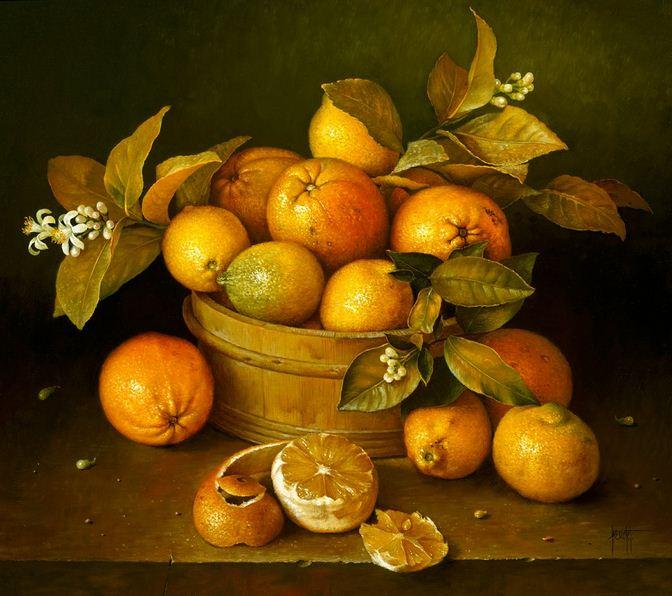 Художник Jose Escofet. Апельсины в деревянной кадке. 51х56 холст масло