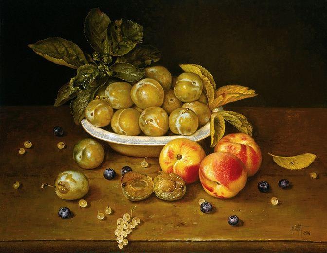 Художник Jose Escofet. Сливы и персики. 46х56 холст масло