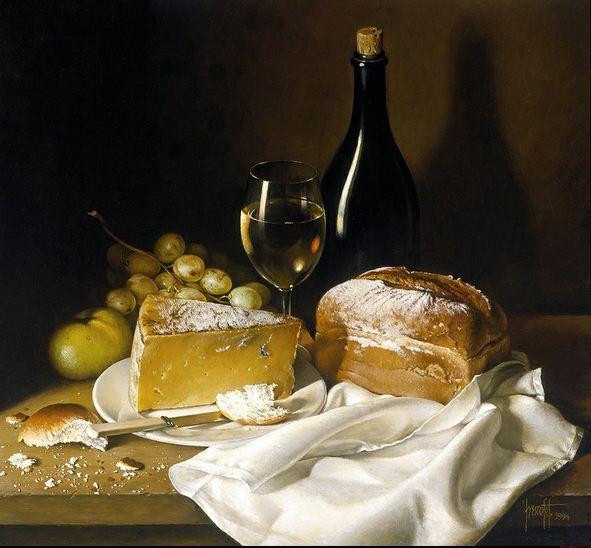 Художник Jose Escofet. Сыр, хлеб и вино. 51х56 холст масло