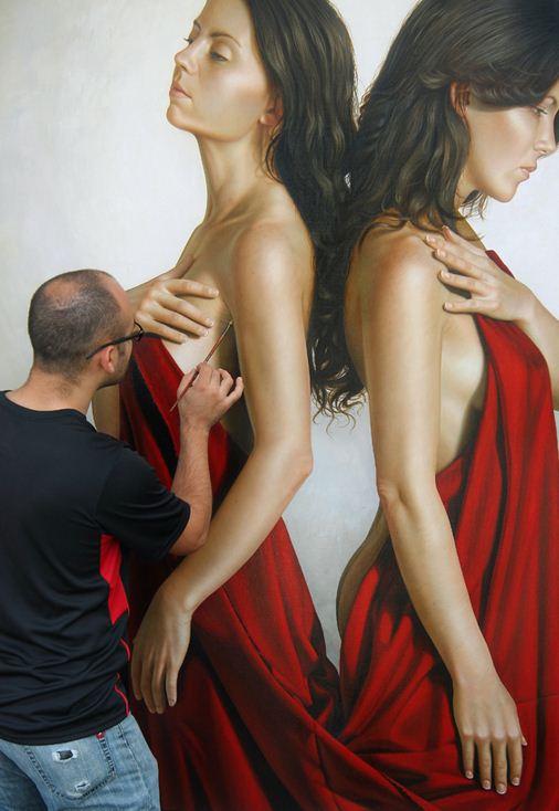 Художник Omar Ortiz за работой. Масляный гиперреализм. 180х180 холст масло