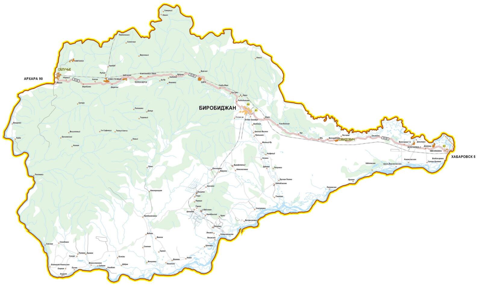 Карта дорог Еврейской автономной области