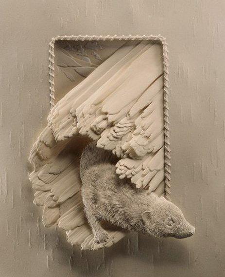 Skulptura-iz-bumagi-Calvin-Nicholls.-Animalistika-v-skulpture-pyataya