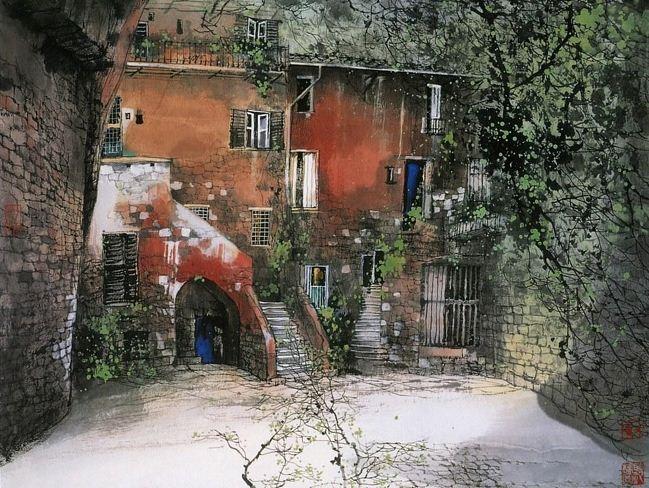 Akvarel-peyzazhi.-Hudozhnik-Liu-Maoshan.-Akvarel-shestnadtsataya