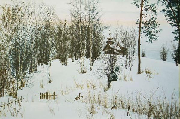 Константин Романов. Пейзаж в акварели. Часовня