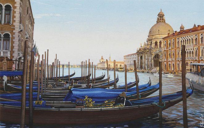 Thierry Duval. Картины из акварели. Гранд-канал и базилики Санта-Мария