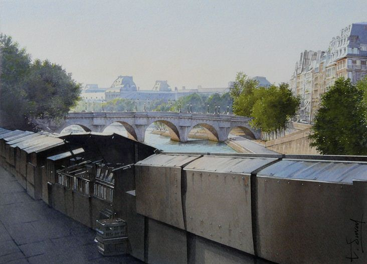 Thierry Duval. Картины из акварели. Книготорговые палатки Парижа