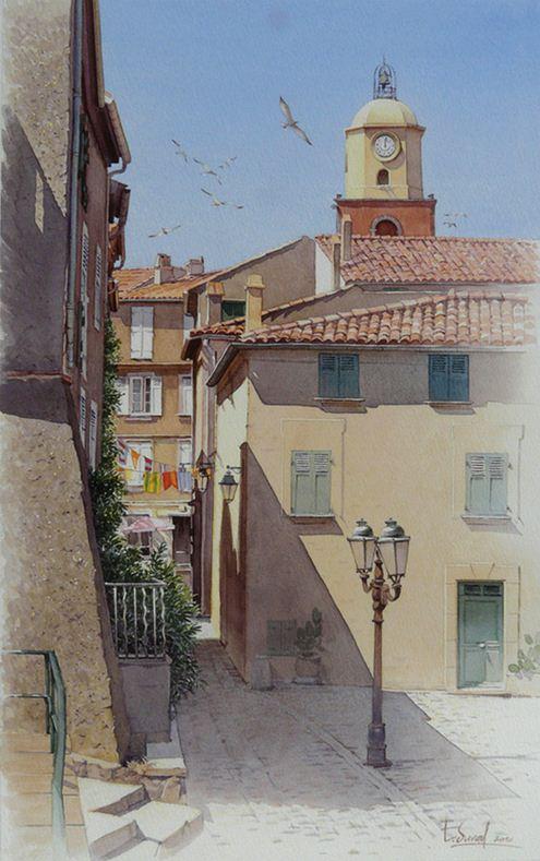 Thierry Duval. Картины из акварели. Улица в Сен-Тропе