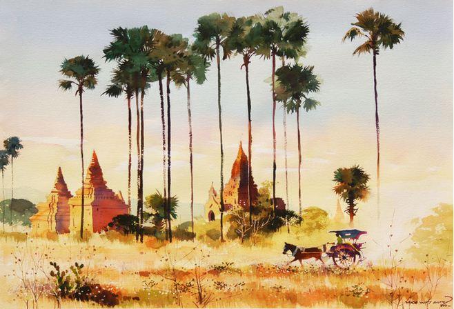 Myoe Win Aung. Современная восточная акварель. Восемнадцатая