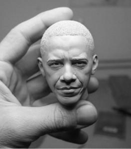 Adam Beane. Мини скульптура. Барак Обама. Голова. 2010