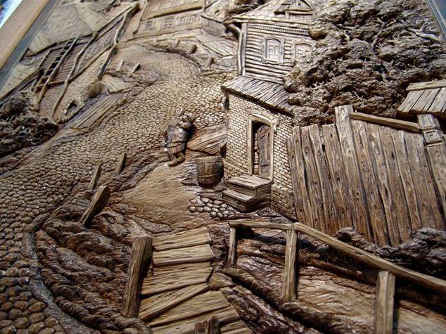Резная картина из дерева. Седьмая. Фрагмент