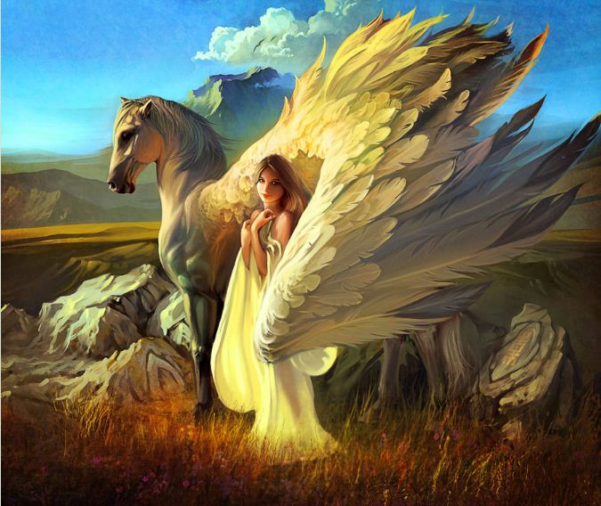 Артём Чебоха. Rhads. Цифровое искусство. Девушка и Pegasus