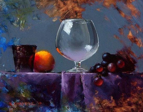 Cheifetz David. Натюрморты живопись. Grapes & Glass Alla Prima. 8х10 дюймов