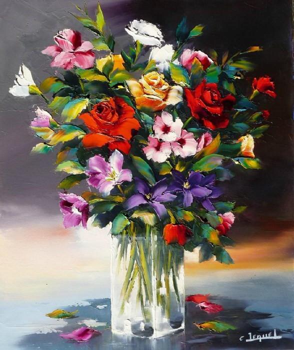 Christian Jequel. Картины мастихином. Bouquet de roses. 55х46