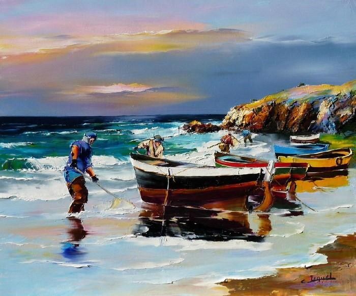 Christian Jequel. Картины мастихином. Pêcheurs à marée basse. 65х54