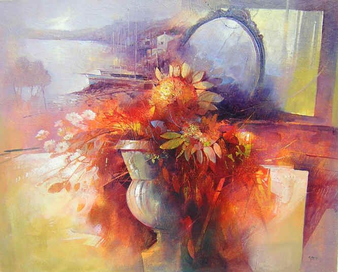 Claudio Perina. Современная итальянская живопись. Ricordi sul lago. 92х73. Бумага наклеенная на холст масло