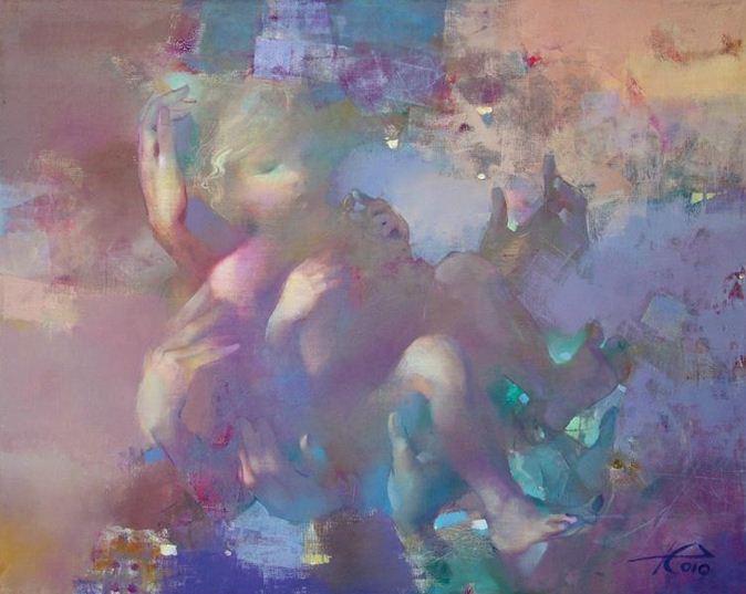 Евгений Кузнецов. Абстракция в живописи. Крещение. 80х100. холст масло
