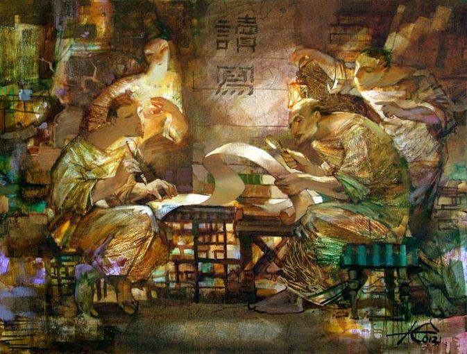 Евгений Кузнецов. Абстракция в живописи. Писать.Читать. 90х120. холст масло