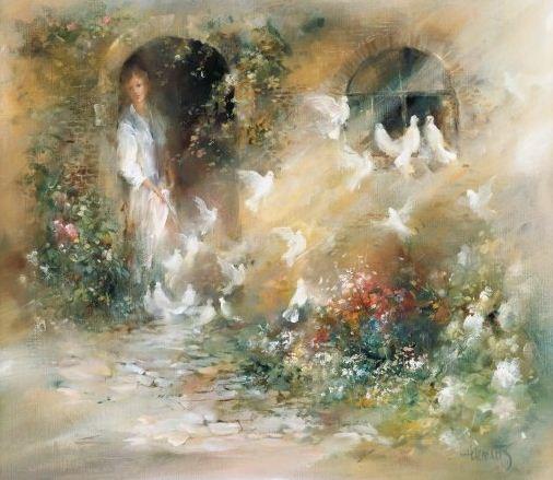 Willem Haenraets. Воздушная живопись. Lady with pigeons