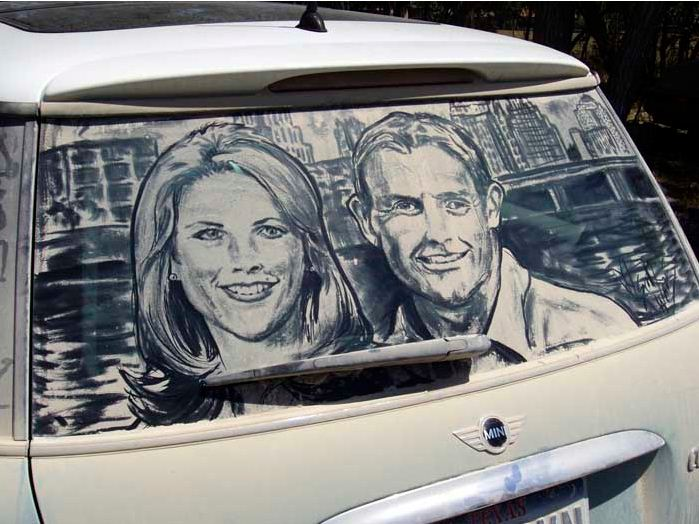 Scott Wade. Рисунки на грязных машинах. Kim & Kelly