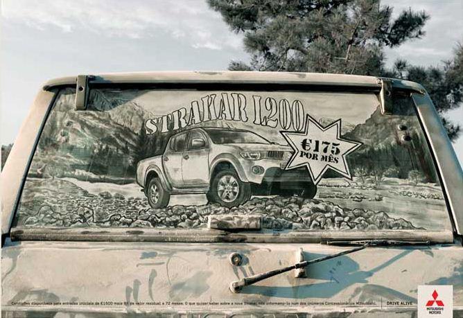 Scott Wade. Рисунки на грязных машинах. Реклама Mitsubishi L200