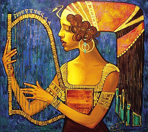 Fattah Hallah Abdel. Египетские картины. Арфистка. 90х80. Холст масло