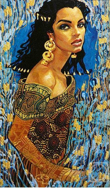 Fattah Hallah Abdel. Египетские картины. Девушка Весна. 70х90. Холст масло
