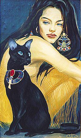 Fattah Hallah Abdel. Египетские картины. Девушка с кошкой. 70х90. Холст масло