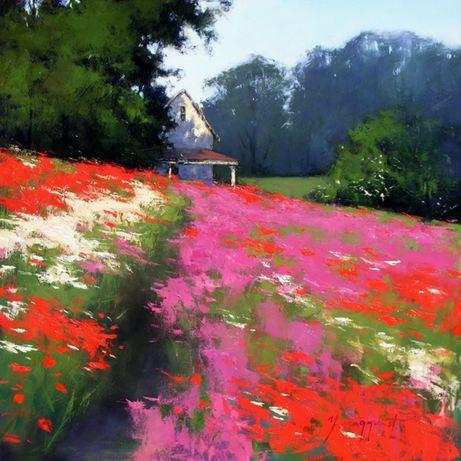 Romona Youngquist. Американский пейзаж в живописи. Hidden Cottage in Spring. 40х40 дюймов. Масло