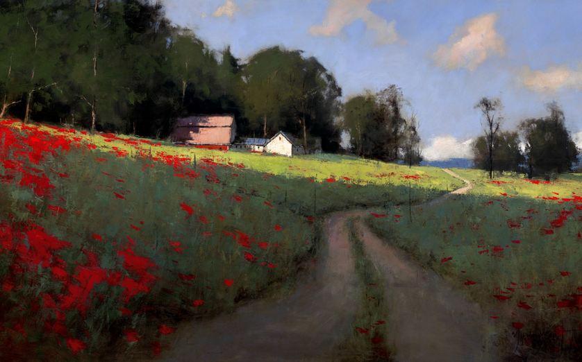 Romona Youngquist. Американский пейзаж в живописи. Hillside Poppies. 40х72 дюйма. Масло.
