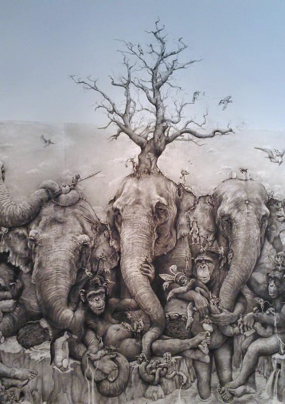 ArtPrize 2012. Adonna Khare и ее большие рисунки. Слоны. Дорисованное на стене в центре