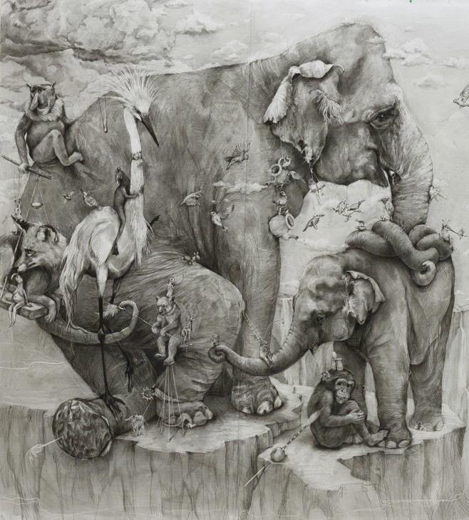 ArtPrize 2012. Adonna Khare и ее большие рисунки. Слоны. Фрагмент восьмой