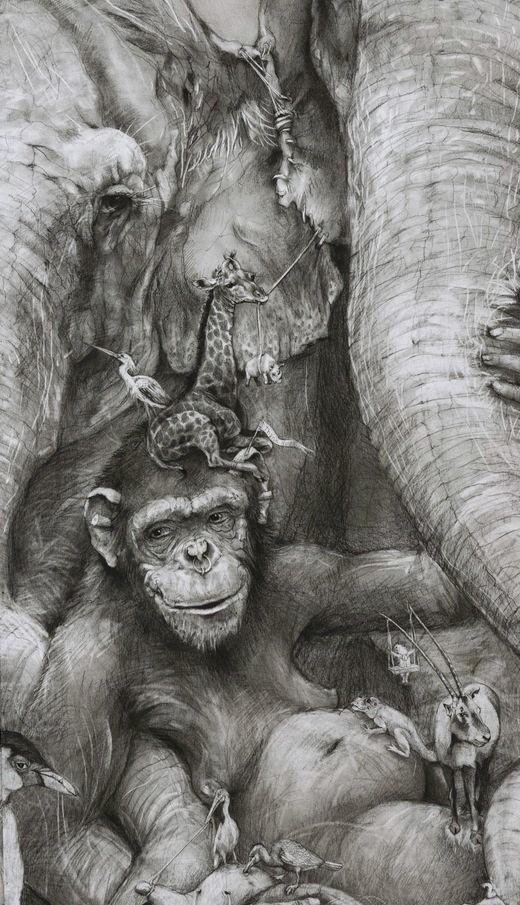 ArtPrize 2012. Adonna Khare и ее большие рисунки. Слоны. Фрагмент второй