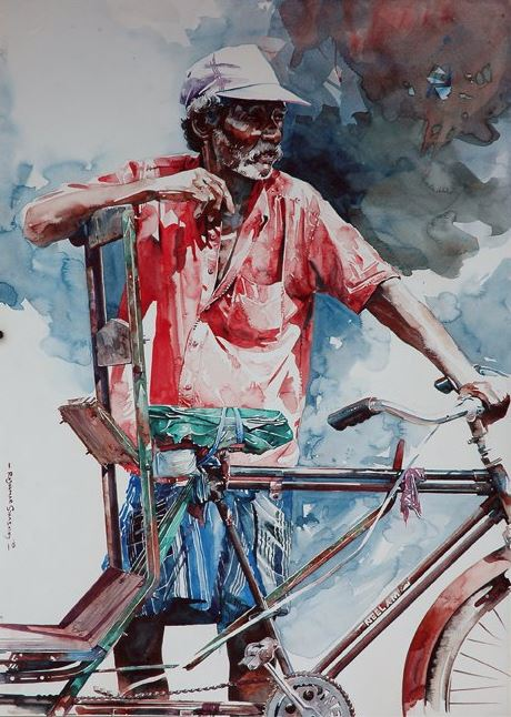 Индийский художник Rajkumar Sthabathy. Акварель десятая