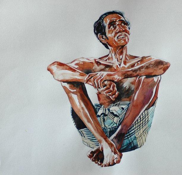 Индийский художник Rajkumar Sthabathy. Акварель двадцать третья