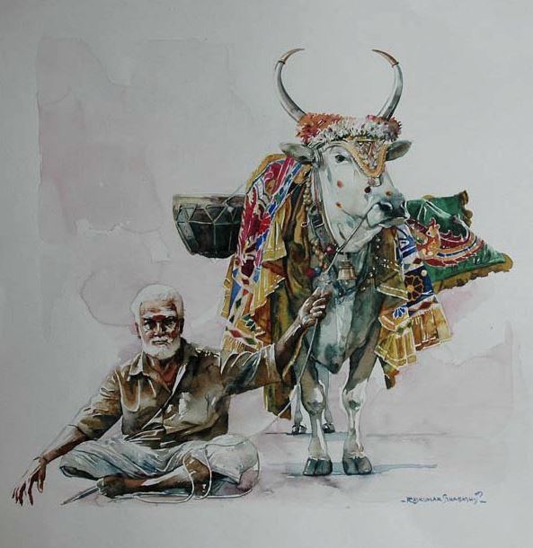 Индийский художник Rajkumar Sthabathy. Акварель двадцатая