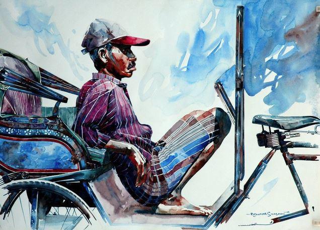 Индийский художник Rajkumar Sthabathy. Акварель одинадцатая