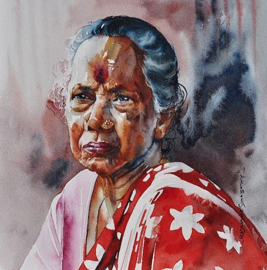 Индийский художник Rajkumar Sthabathy. Акварель пятнадцатая