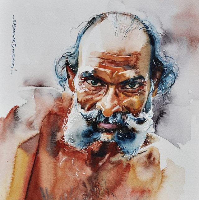 Индийский художник Rajkumar Sthabathy. Акварель шестнадцатая