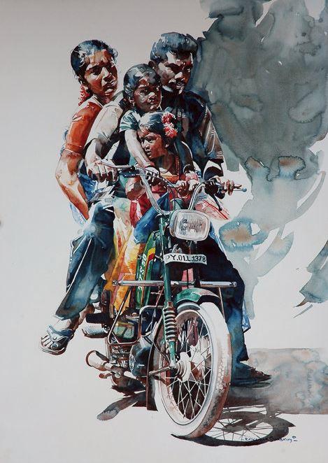 Индийский художник Rajkumar Sthabathy. Акварель третья