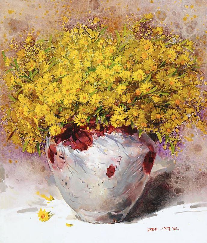 Корейский художник Yi Seong-bu. Натюрморт с цветами. Картина четвертая