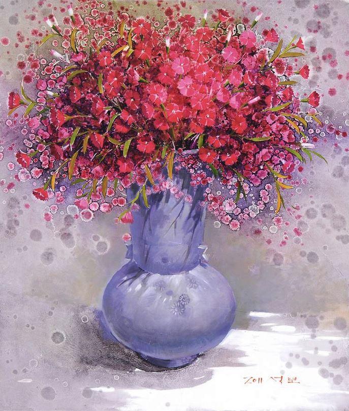 Корейский художник Yi Seong-bu. Натюрморт с цветами. Картина десятая