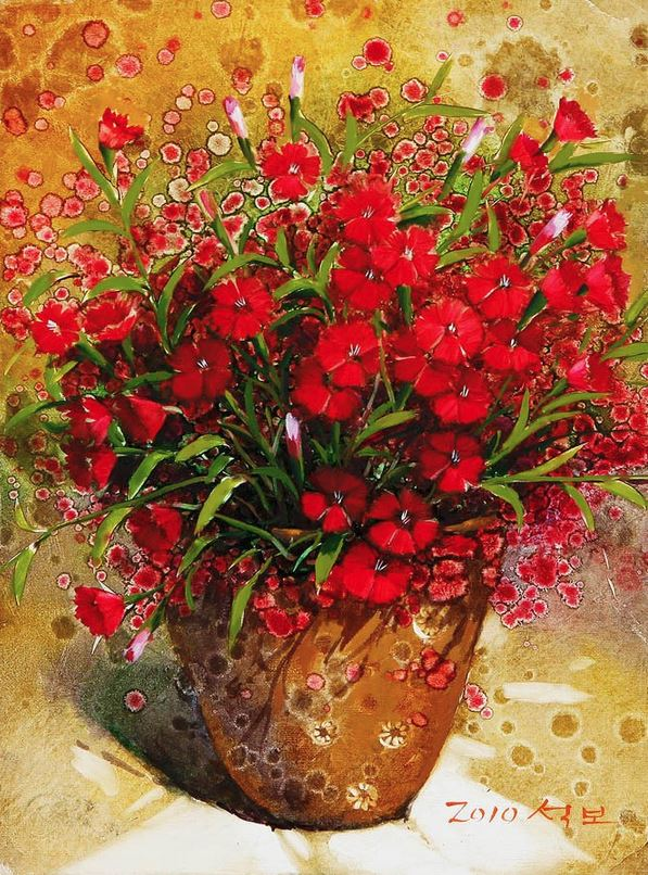 Корейский художник Yi Seong-bu. Натюрморт с цветами. Картина девятая
