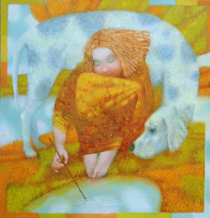 Павел Антипов и его философские картины. Рисунок на воде. 105х110 Холст, масло 2010