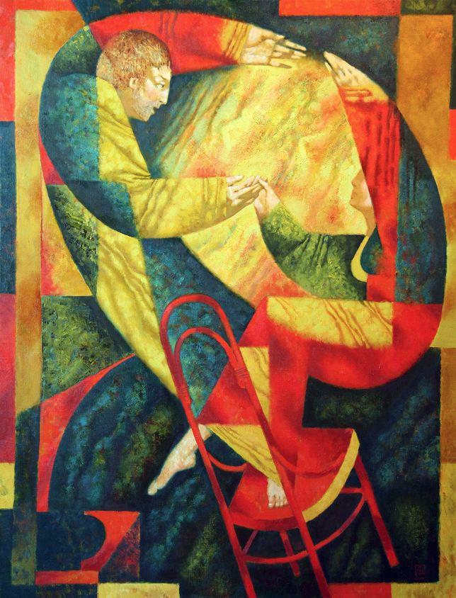 Павел Антипов и его философские картины. Танец на венском стуле. 110х85 Холст, масло 2010