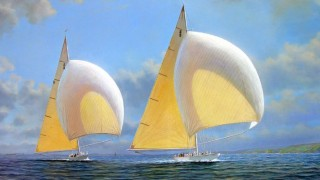 Tim Thompson. America's Cup 1937 Trials, RAINBOW Powering RANGER Downwind. 30х40 дюймов